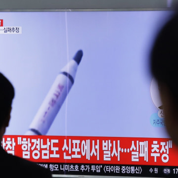 Image: Television pictures in South Korea showed file footage of a North Korean ballistic missile.