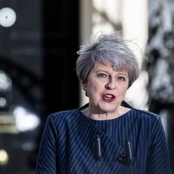 Image: Theresa May makes the surprise announcement outside 10 Downing Street, central London.