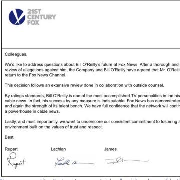 21st Century Fox statement on termination of Fox News host Bill O'Reilly