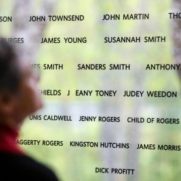 A wall at the Black Loyalist Heritage Centre features a glass wall showcasing nearly 3,000 names and descriptions of the nearly 3,000 African American slaves who escaped to the British lines during the American Revolution.
