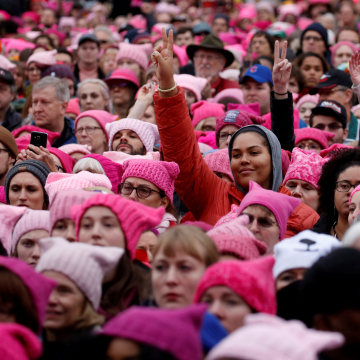 Image: FILE PHOTO: People gather for the Women's March in Washington