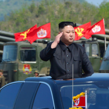 Image: North Korea's leader Kim Jong Un watches a military drill marking the 85th anniversary of the establishment of the Korean People's Army