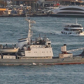 Image: The Russian reconnaissance ship Liman, pictured here in 2016 before it sank.