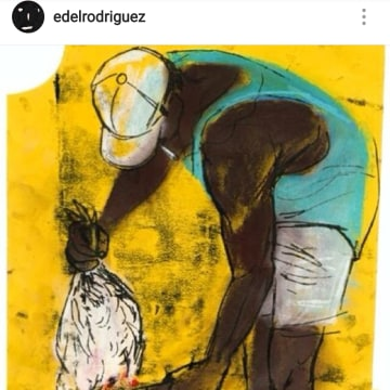 Image: Artwork by Edel Rodriguez: Chicken, Cuba, 1999, pastel on paper.