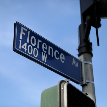 Image: The sign post at the corner of Florence and Normandie where the 1992 Los Angeles riots began 25 years ago this week in Los Angeles
