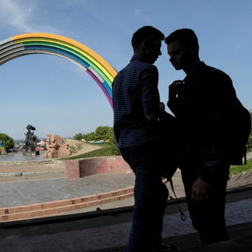 "Image: Soviet ""Arch of the Friendship of Nations"" painted with rainbow colours is seen in central Kiev"