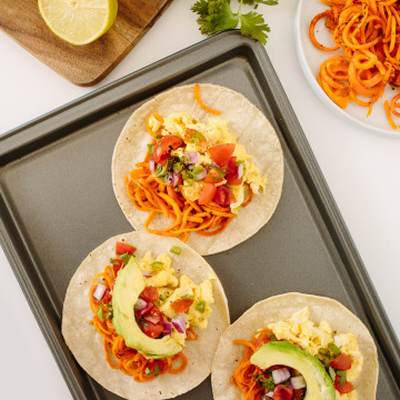 Image: Mexican-Style Breakfast Tacos with Spiralized Sweet Potatoes