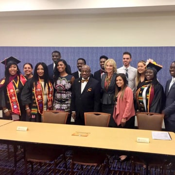 Image: Secretary of Education Betsy DeVos at a round table with Bethune-Cookman University students