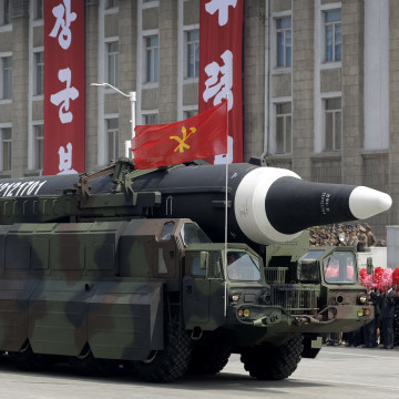Image: A missile analysts believe could be the North Korean Hwasong-12