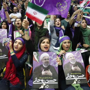 Image: Supporters of Hassan Rouhani