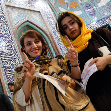 Image: Iranian women after voting on May 19, 2017