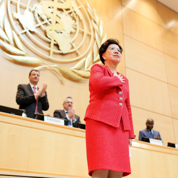 Image: Margaret Chan is seen after her last speech as World Health Organization (WHO) Director-General during the 70th World Health Assembly in Geneva