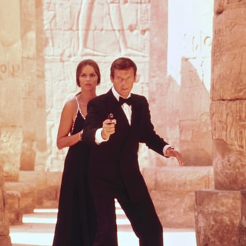 Image: Roger Moore and Barbara Bach in The Spy Who Loved Me