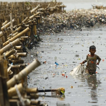 Children Collect Valuable Goods From The Garbage In Indonesia