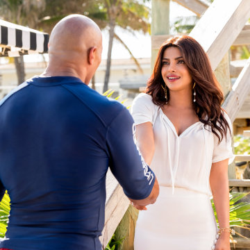 Priyanka Chopra's Victoria Leeds proves to be the archival for Mitch Buchannon (Dwayne Johnson.)