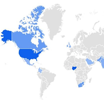 Image: Graphic of a map that shows the interest in the search term 'spelling bee' by region worldwide
