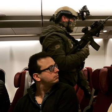 Image: Officer sweeps Malaysia Airlines flight at Melbourne Airport