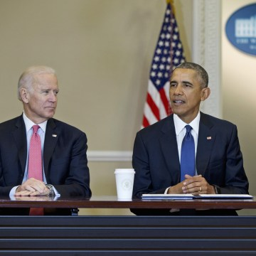 Image: Former President Barack Obama, joined by Vice President Joe Biden, left, and Senior White House Adviser Valerie Jarrett