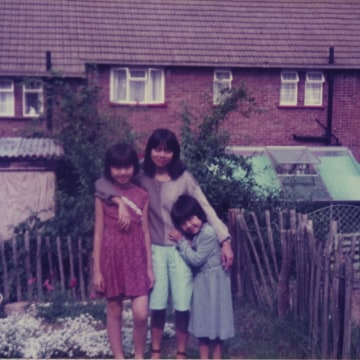 Childhood photo of Mimi Lok with her aunt and younger sister at home in Epping.