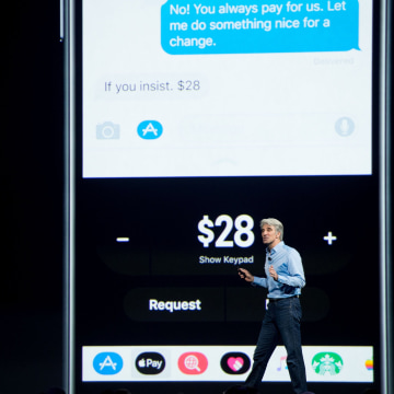 Image: Apple's Senior Vice President of Software Engineering Craig Federighi speaks about Apple Pay