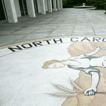 Image: The great seal of North Carolina is seen outside the state legislature building in Raleigh, North Carolina, May 9, 2016.