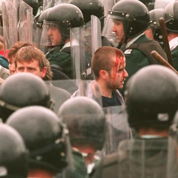 Experts believe Northern Ireland can avoid slipping back to violence such as the clashes at Drumcree, pictured here in July 1996.