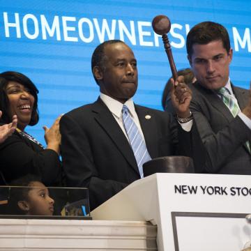 Image: HUD Secretary Ben Carson Rings Closing Bell At New York Stock Exchange ***BESTPIX***