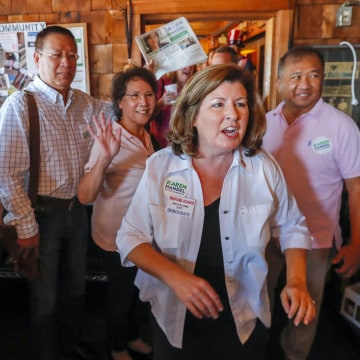 Image: Karen Handel campaigns in Marietta, Georgia, USA.