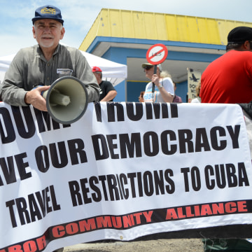 Man Protests Trump's Changes to Obama's Cuba Policies