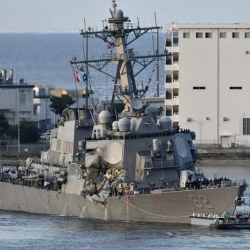 Image: US Navy destroyer USS Fitzgerald returns to Yokosuka Naval Base