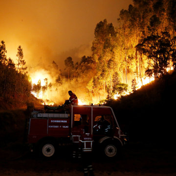Image: Firefighters work to put out a forest fire near Bouca in central Portugal