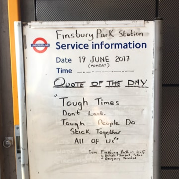 Image: Sign at Finsbury Park tube station, a few yards from the scene of the attack