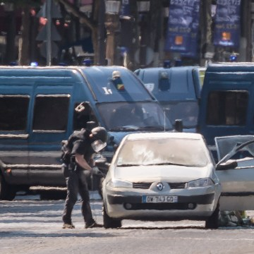 Image: Police operation underway on Champs Elysees Avenue