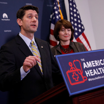 Image: Speaker of the House Paul Ryan speaks to the media about the American Health Care Act at the Capitol