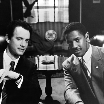 "Image: Tom Hanks and Denzel Washington on the set of ""Philadelphia"" in 1993"