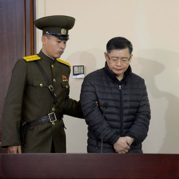 Image: Canadian pastor Hyeon Soo Lim during his trial at a North Korean court in Pyongyang