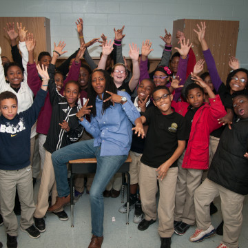 Image: Bettina Love with students from the Kindezi School