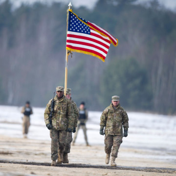 Image: A welcome of the U.S. Army's 3rd Armored Brigade Combat Team, 4th Infantry Division for the inauguration of a bilateral military training of U.S. and Polish Forces in support of the Atlantic Resolve operation in Zagan, Poland.
