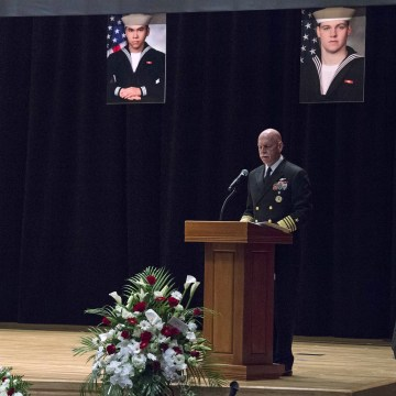 Image: U.S. Navy, Adm. Scott Swift delivers remarks during a memorial