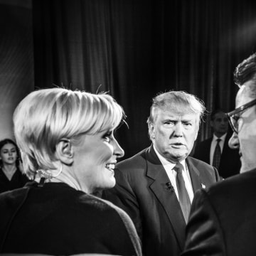Image: Trump looks toward Mika Brzezinski and Joe Scarborough
