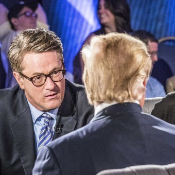 """Image: Joe Scarborough and Mika Brzezinski of MSNBC's """"Morning Joe"""" moderate a town hall with Republican presidential candidate Donald J. Trump"""
