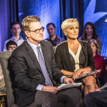 Image: Joe Scarborough and Mika Brzezinski moderate a town hall with Donald Trump in Charleston on February 17, 2016