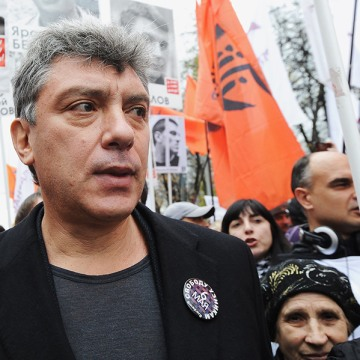 Image: Russian opposition leader Boris Nemtsov attends an opposition rall