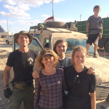 Image: Dave Eubank, his wife, Karen, and their children Sahel, Suuzanne and Peter, in front of their armoured ambulance in western Mosul