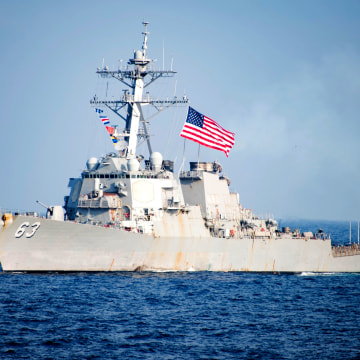 Image: U.S. Navy destroyer USS Stethem sails in waters east of the Korean peninsula