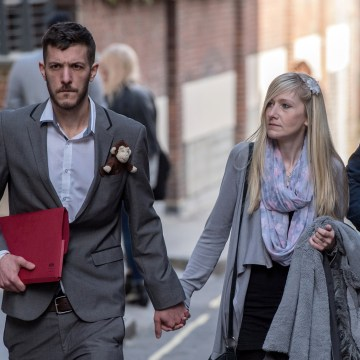 Image: Parents of Charlie Gard, Chris Gard and Connie Yates, leave the Royal Courts of Justice on April 5, 2017 in London.