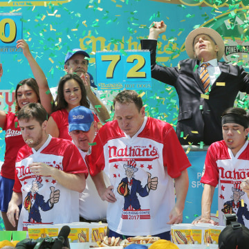 Image: Chestnut wins Hot Dog-Eating Contest at Coney Island in New York City
