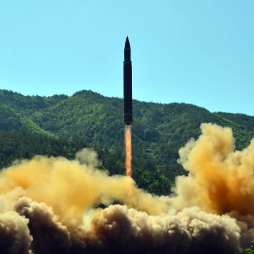 Image: The successful test-fire of the intercontinental ballistic missile Hwasong-14 at an undisclosed location