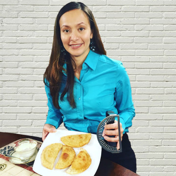 Image: Hipatia Lopez, 40, born and raised in New Jersey of Ecuadorian parents, is the creator of the Empanada Fork.