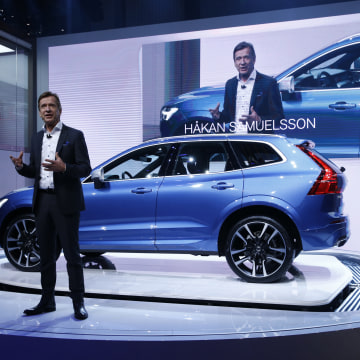 Image: Vovlo CEO Samuelsson speaks during presentation of the new Volvo XC60 car during the 87th International Motor Show at Palexpo in Geneva